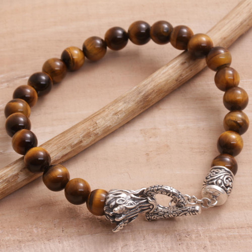 Tiger's Eye and 925 Silver Beaded Dragon Bracelet from Bali 'Dragon Glory'