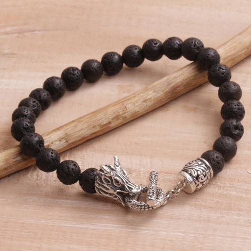 Lava Stone and 925 Silver Beaded Dragon Bracelet from Bali 'Dragon Glory'