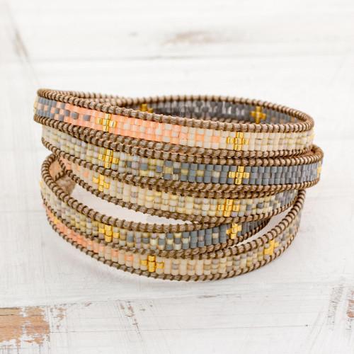 Colorful Glass Beaded Wrap Bracelet from Guatemala 'Cerro de la Cruz in Grey'