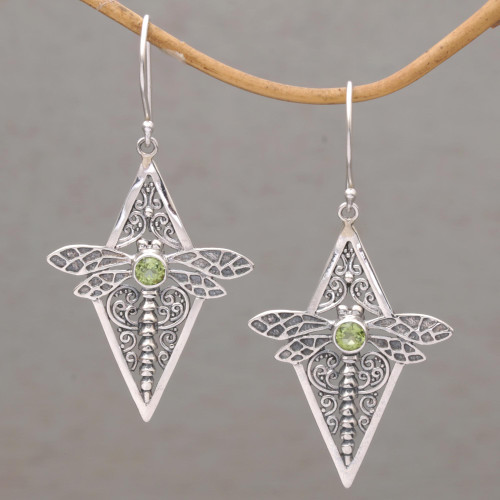 Peridot and 925 Silver Dragonfly Dangle Earrings from Bali 'Dragonfly Diamonds'