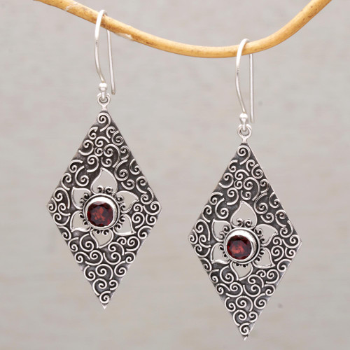 Garnet and Sterling Silver Floral Dangle Earrings from Bali 'Daisy Spirals'