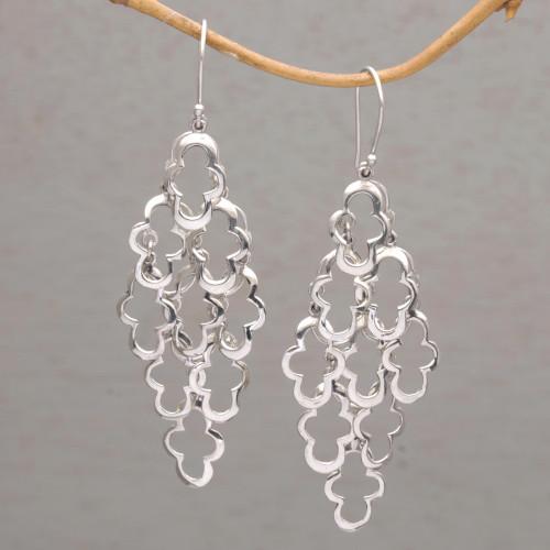 925 Sterling Silver Wavy Dangle Earrings from Bali 'Spanish Moss'