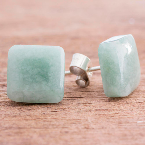 Apple Green Square Jade Stud Earrings from Guatemala 'Simply Luxurious'