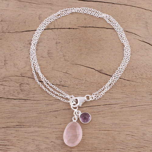 Rose Quartz and Amethyst Charm Bracelet from India 'Twinkling Harmony'