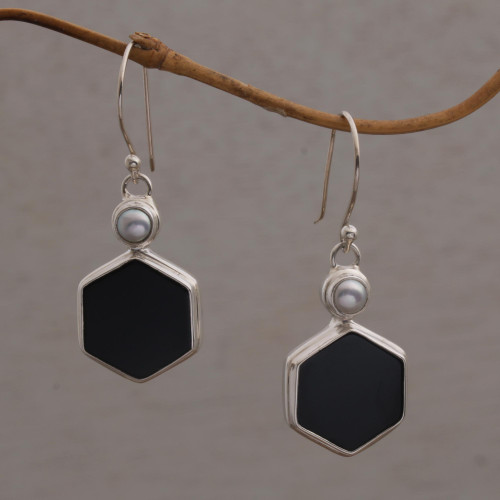 Onyx and Cultured Pearl Hexagonal Dangle Earrings from Bali 'Light and Dark Hexagons'