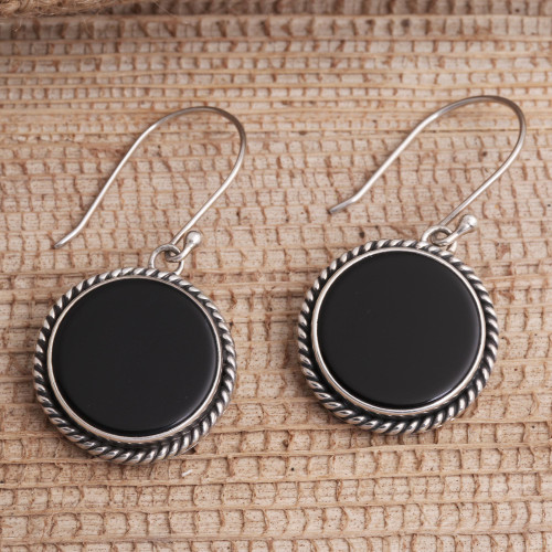 Onyx and Sterling Silver Circular Dangle Earrings form Bali 'Midnight Circles'