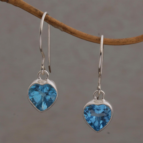 Blue Topaz Heart-Shaped Dangle Earrings from Bali 'Color of Love'