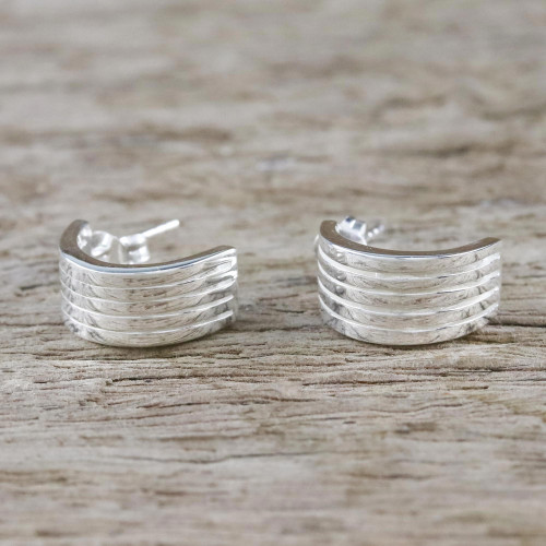 Sterling Silver Striped Half-Hoop Earrings from Thailand 'Shimmering Stripes'