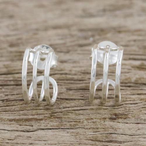 Sterling Silver Openwork Half-Hoop Earrings from Thailand 'Shining Jai Alai'