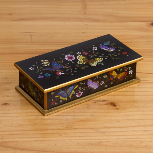 Reverse Painted Glass Butterfly Decorative Box in Black 'Glorious Butterflies in Black'