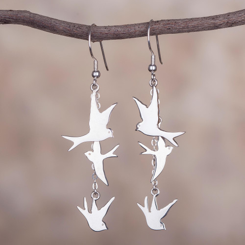 Sterling Silver Dove Dangle Earrings from Peru 'Nighttime Doves'