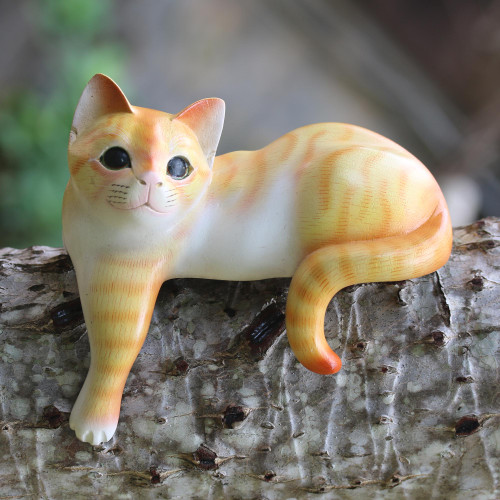Painted Suar Wood Sculpture of an Orange Cat from Bali 'Watchful Orange Cat'