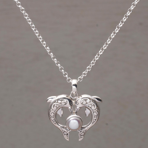 Cultured Pearl Dolphin Pendant Necklace from Bali 'Dolphin Gift'