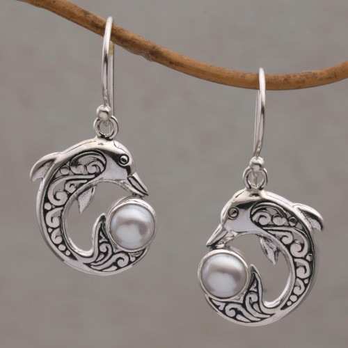 Cultured Pearl Dolphin Dangle Earrings from Bali 'Dolphin Gift'