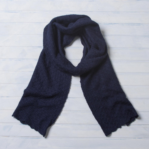 100 Baby Alpaca Wrap Scarf in Solid Navy Blue from Peru 'Solid Style in Navy'