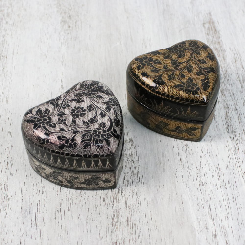 Decorative Heart Shaped Lacquerware Boxes Pair 'Heart to Heart'