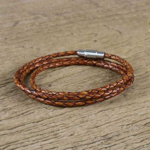 23 Inch Braided Brown Leather Wrap Bracelet from Thailand 'Brown Charm'