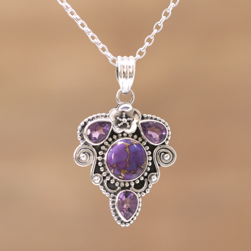 Amethyst and Composite Turquoise Pendant Necklace 'Royal Heart'
