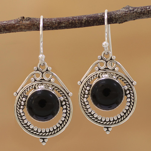 Onyx and Sterling Silver Dangle Earrings from India 'Elegant Globes'