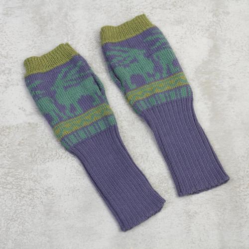 Knit Alpaca Blend Fingerless Gloves in Iris from Peru 'Inca Landscape'