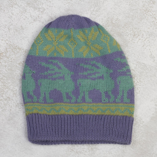 Animal-Themed Knit Alpaca Blend Hat in Iris from Peru 'Inca Landscape'