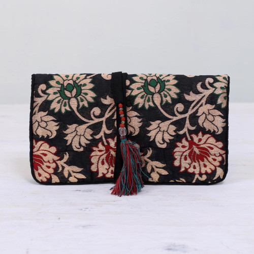 Floral Jewelry Roll in Caramel and Black from India 'Path of Flowers'