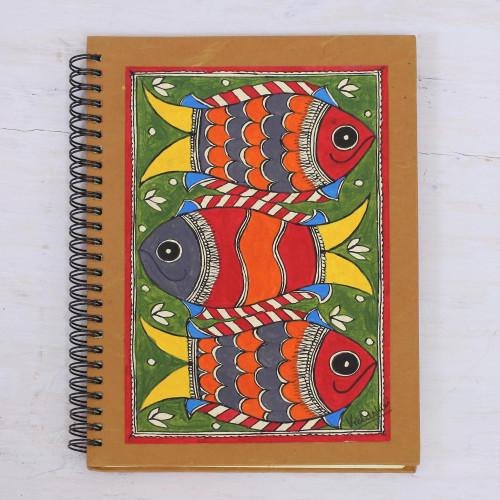 Madhubani Blank 40 Page Journal with Handmade paper 'Joyful Fishes'