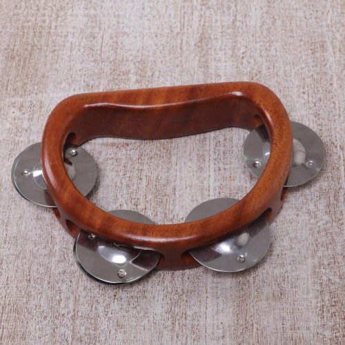 Artisan Crafted Handled Teakwood Tambourine from Bali 'Funky Vibes'