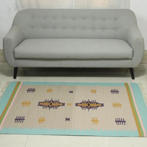 4x6 Wool Dhurrie Rug with a Border in Mint from India 'Beach Caravan'