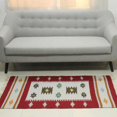 3 by 5 Foot Handwoven Crimson Wool Dhurrie Rug from India 'Crimson Elegance'