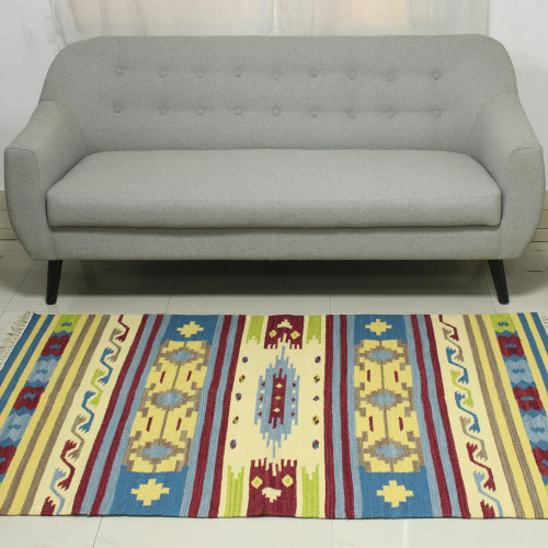 Colorful Handwoven 4 x 6 Wool Dhurrie Rug from India 'Primary Garden'