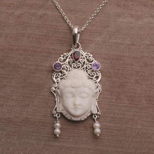 Multi-Gemstone Sterling Silver Buddha Necklace from Bali 'Buddha's Earrings'