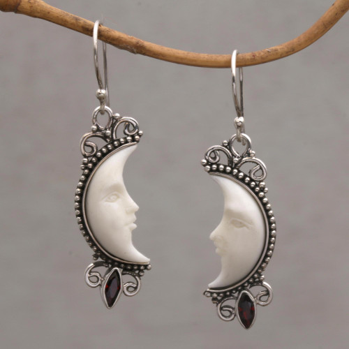 Garnet and Silver Crescent Moon Dangle Earrings from Bali 'Natural Moonlight'