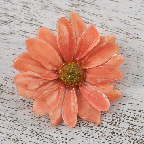 Natural Aster Flower Brooch in Peach from Thailand 'Let It Bloom in Peach'