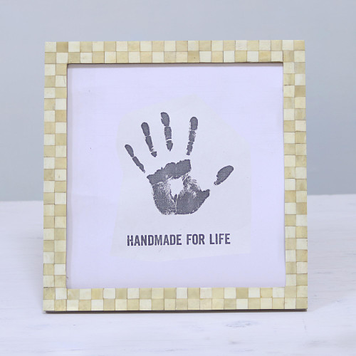 10x10 Handcrafted Square Bone Photo Frame from India 'Beige Checkers'