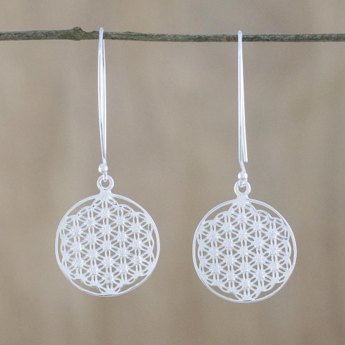 Thai Sterling Silver and Cubic Zirconia Dangle Earrings 'Fractal Circle'