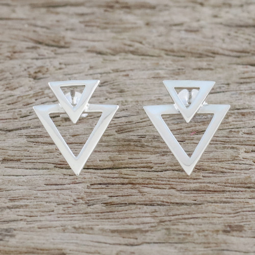 Sterling Silver Triangles Button Earrings from Thailand 'Trendy Triangles'