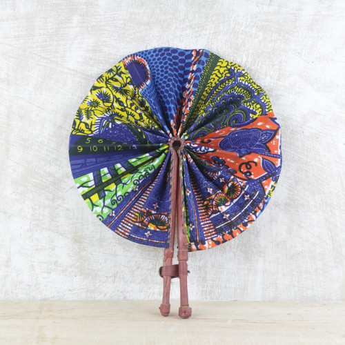 Handcrafted Multicolored Cotton and Leather Fan from Ghana 'Ghana Breeze'