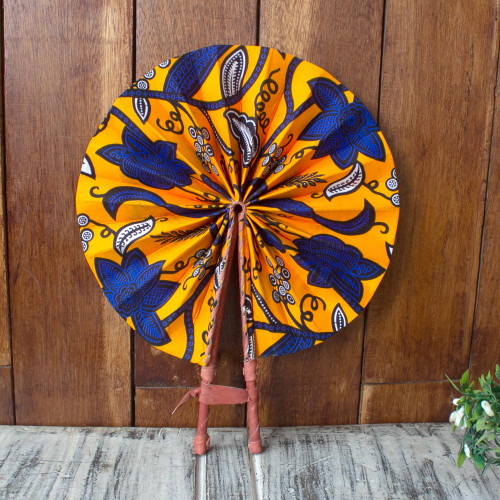 Handcrafted Tangerine Cotton and Leather Fan from Ghana 'Ray of Sunshine'