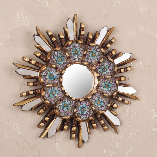 Round Wall Mirror with Floral Reverse Painted Glass 'Cuzco Meadow'