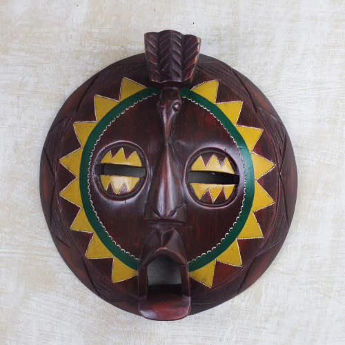 African Painted Round Sese Wood Mask from Ghana 'Round Sunflower Man'
