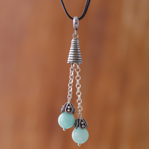 Amazonite Pendant Necklace on Cotton Cord from Peru 'Floral Pendulums'