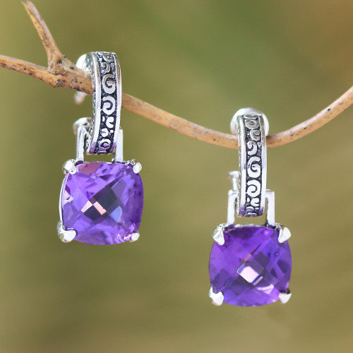 Amethyst and Sterling Silver Dangle Earrings from Bali 'Buddha Hoops'