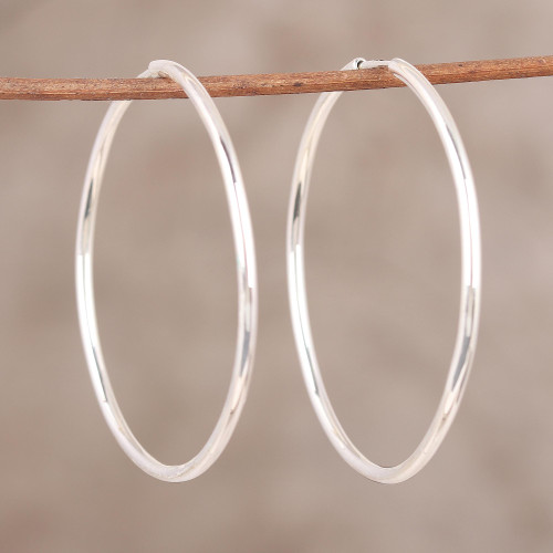 Handcrafted Polished Sterling Silver Endless Hoop Earrings 'Timeless Charm'
