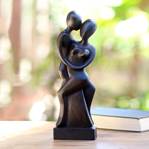 Artisan Hand-Carved Suar Wood Lovers Statuette from Bali 'Our Love'