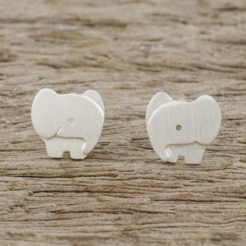 Brushed Sterling Silver Elephant Stud Earrings from Thailand 'Watchful Elephants'