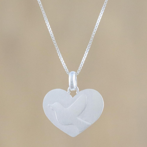 Dove Heart Sterling Silver Pendant Necklace from Thailand 'Dove Love'