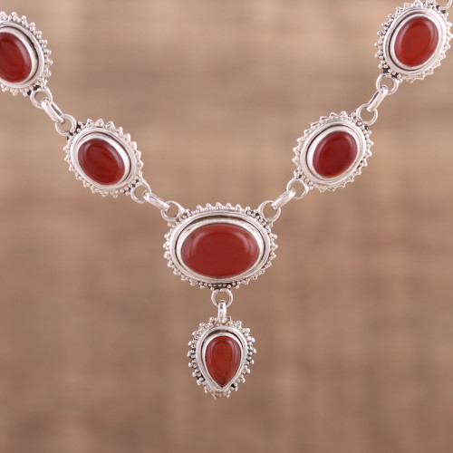 Handmade Natural Carnelian Link Pendant Necklace from India 'Magnificent Fire'