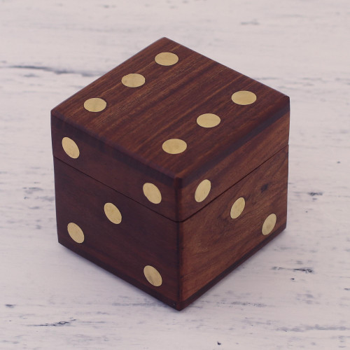 Wood Dice Set with Matching Box from India 'Game of Chance'