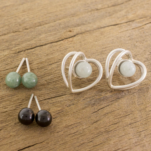 Heart-Shaped Modifiable Jade Button Earrings from Guatemala 'The Faces of Love'